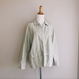 Sage Green Woven Linen Blend Button Up